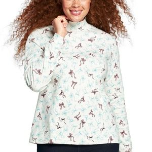 Land's End Relaxed Cotton Mock Turtleneck Ribbon3X